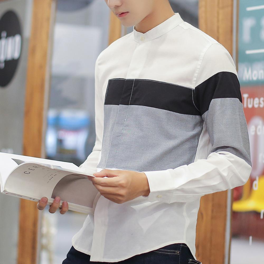 mode été style classique patchwork manches longues chemise robe - Vêtements pour hommes - Photo 4