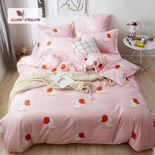 SlowDream Flat Sheet Bedding Set Cartoon Dark Pink Underwear Bedspread Bed Linen Duvet Cover Pillowcases 3/4pcs