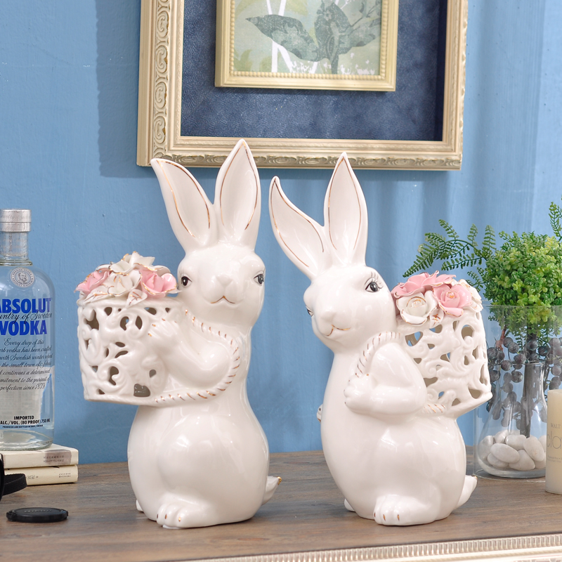 Creative White Gilt Porcelain Bunny Carry Flower Basket Ornaments Decorative Cute Ceramic Rabbit Animal Figurine Home Decoration