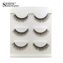 SHIDISHANGPIN 3 pairs False Eyelashes Mink Natural Long 3d Lashes Makeup Eyelash Extension faux cils maquiagem 09