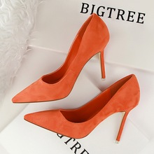 516-1 Korean fashion simple heels fine suede sexy slim pointed shallow mouth occupation OL singles shoes