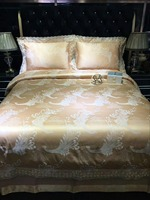 Jacquard Silk Cotton Luxury Queen Size Gold Bedding Set Bedclothes Bed Spread Duvet Cover Bed Flat