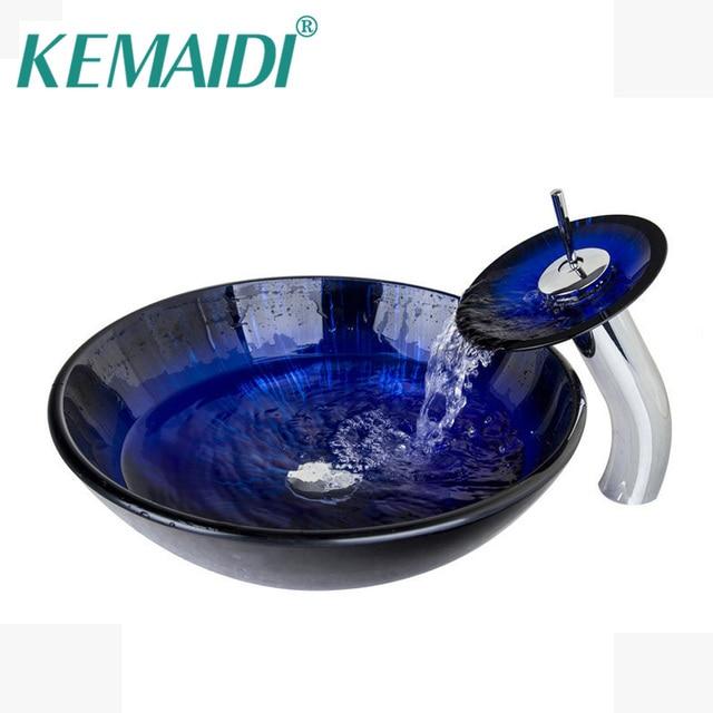 KEMAIDI Dark Blue Bathroom Sink Transparent Tempered Glass Vessel ...