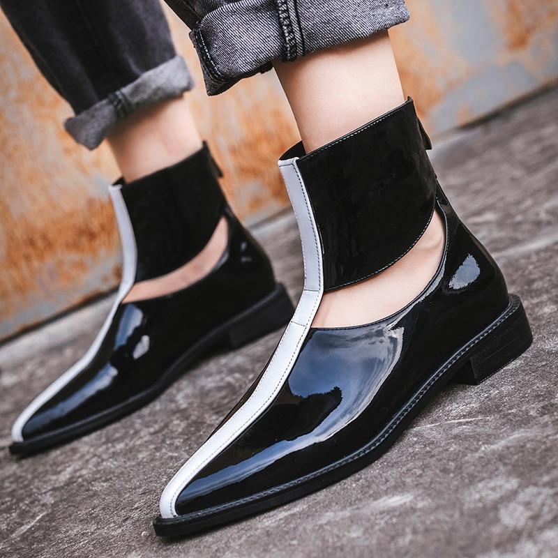 Color Botas Moda Mujer Botines Mixto Estrenar Black Lujo Charol Zapatos Hollow Mujeres Chelsea Invierno A xwqHCn7P0