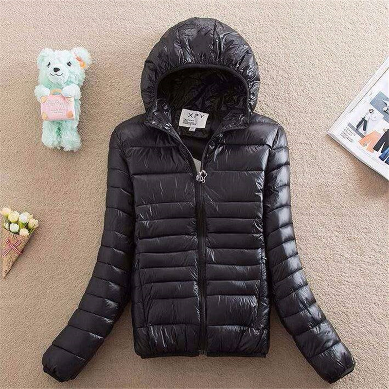Casual ultra light puffer Jacket winter Plus size Padded Cotton   Parkas   New big size warm hooded coat Zipper overcoat tops 5XL