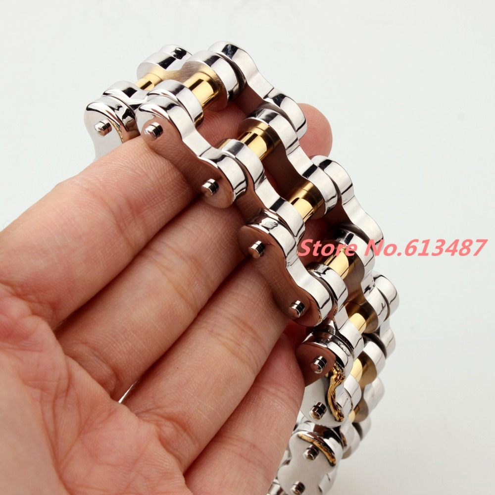 Charming 22mm Huge 316L Stainless Steel Silver Gold Mens Biker Bicycle Motorcycle Chain Males Bracelets & Bangles 8.66 Gift sda 24mm width punk 316l stainless steel bracelet men biker bicycle motorcycle chain men s bracelets mens bracelets