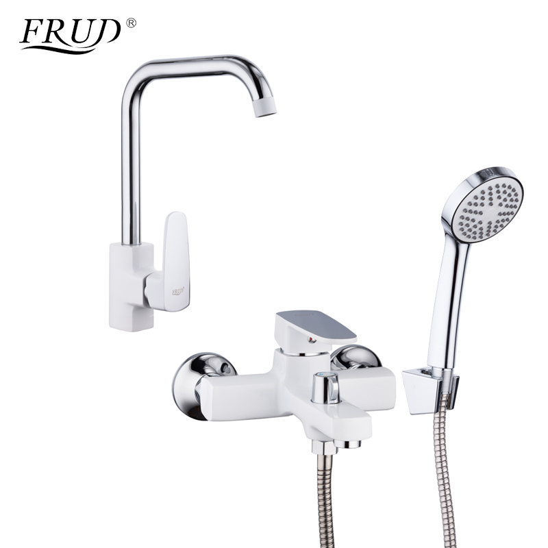FRUD 1 Set New Zinc Alloy Kitchen sink faucet Bathroom Bathtub Shower Faucet White Kitchen Mixer Tap Torneira R40301+R32301 newly arrived pull out kitchen faucet gold sink mixer tap 360 degree rotation torneira cozinha mixer taps kitchen tap