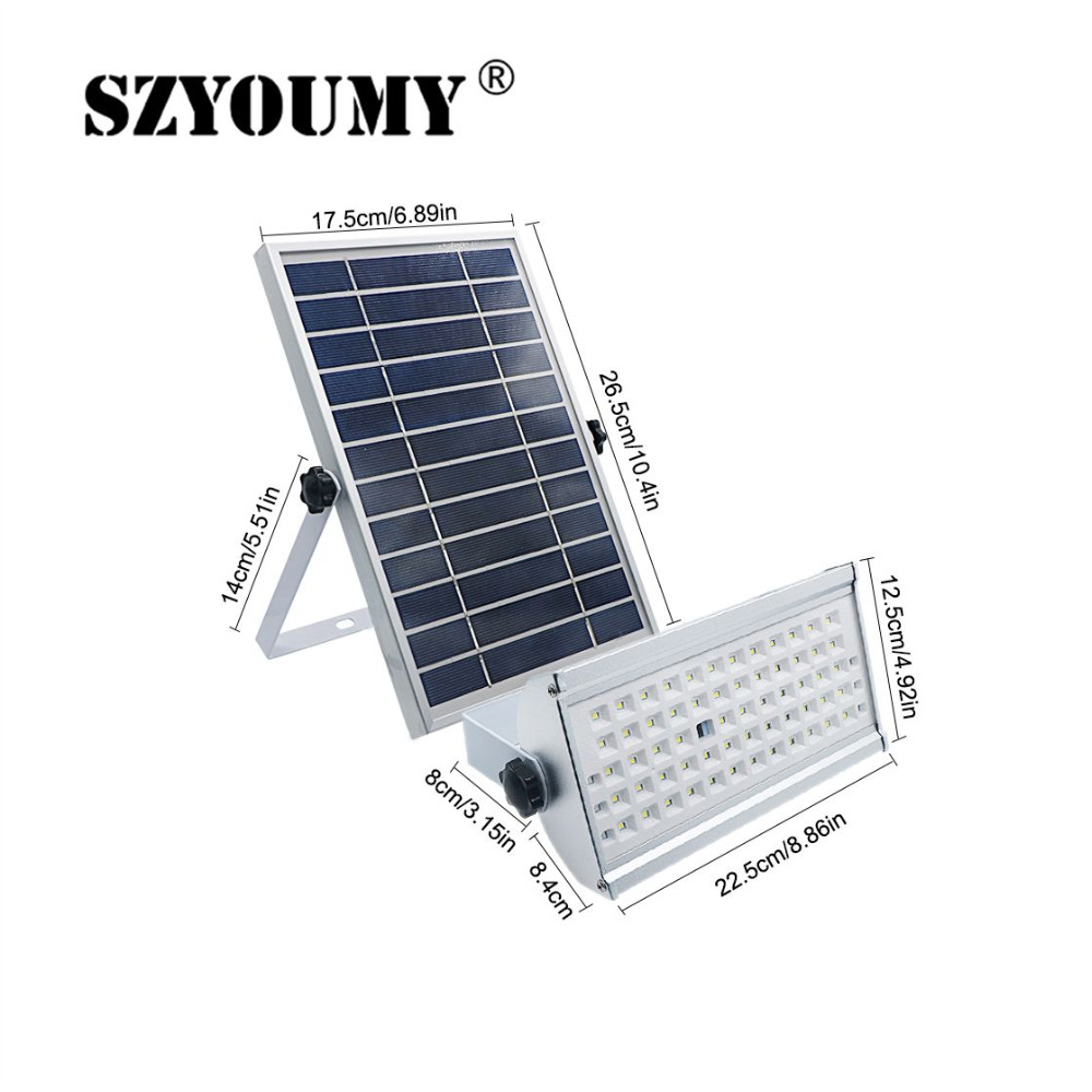 SZYOUMY Solar Lights Outdoor Garden Waterproof Lamp 65 Leds 12W Two Working Mode With Remote Control Motion Sensor Flood Light