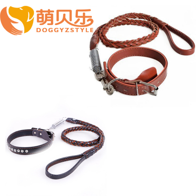 DOGGYZSTYLE (1 collar +1 leashes) Large Dog Collar Leather Woven Dogs Traction Rope Set Pet Products