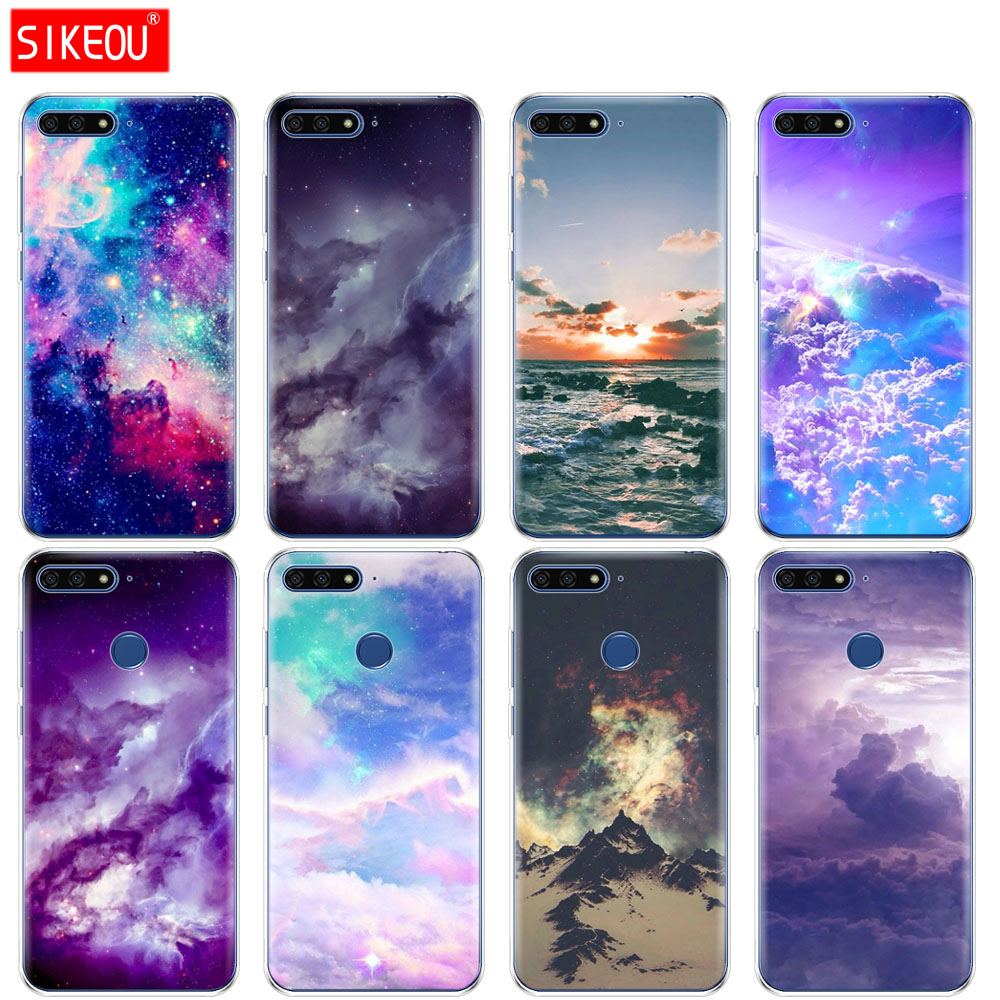 selezione premium 95976 7c2e9 US $1.47 40% OFF|SIKEOU clouds rt cute kawaii sky space Silicone Cover  Phone Case For Huawei Honor 7A PRO 7C Y5 Y6 Y7 Y9 2017 2018 Prime-in Fitted  ...