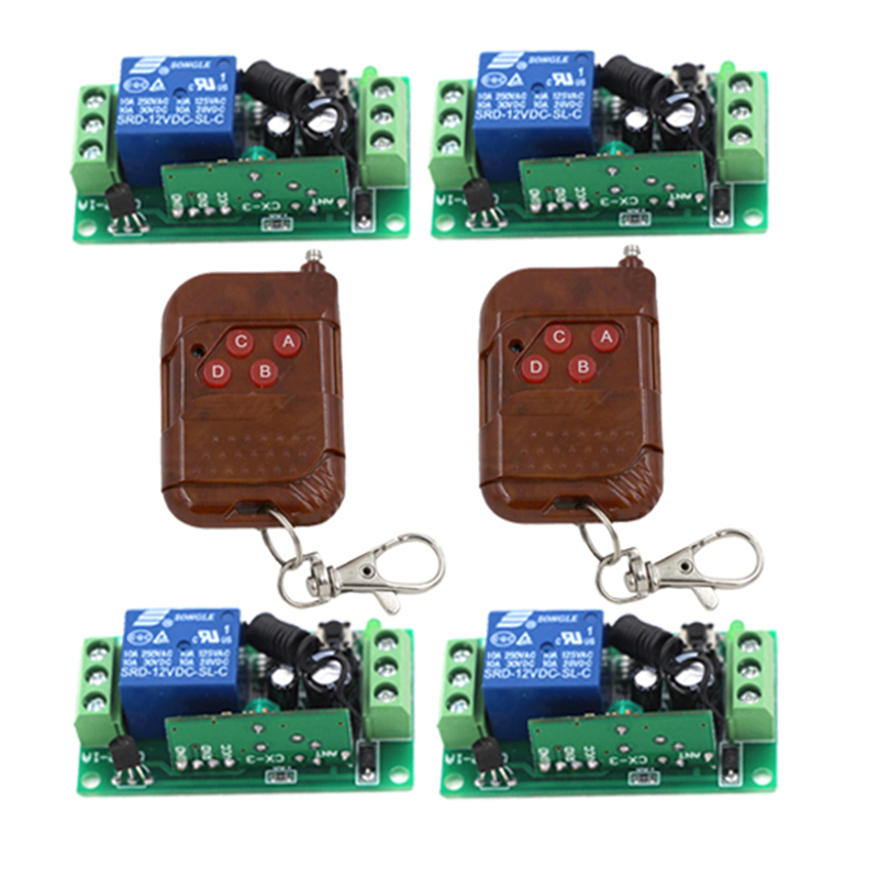 Free shipping 12V 4CH Remote Control Switch RF Wireless 2 Transmitter + 4 Receiver Learn Code 3 Kinds Work Way 315/433MHz 3412 dc24v 8ch rf wireless remote control switch 8 receiver