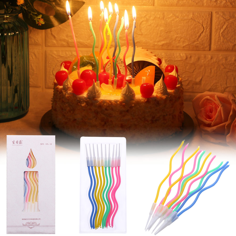 12 Pcs//Pack Threaded Candle Birthday Candle Cake Candles Decoration Set