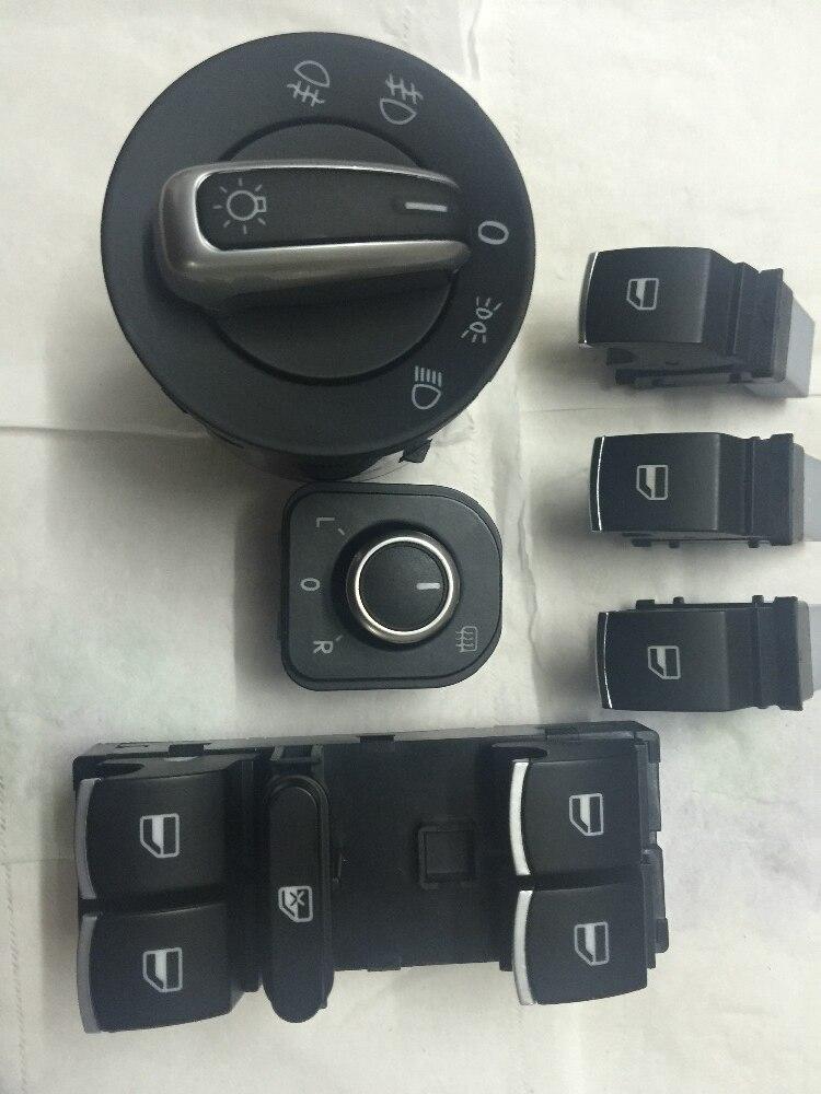 Бесплатная доставка Chrome Авто фар Выключатель зеркала заднего вида переключатель окна для VW Passat B6 Golf Jetta MK5 MK6 CC Tiguan