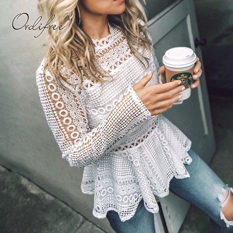 Ordifree 2019 Summer Women White Lace Blouse Shirt Long Sleeve Streetwear Crochet Sexy Ruffle Blouse Top