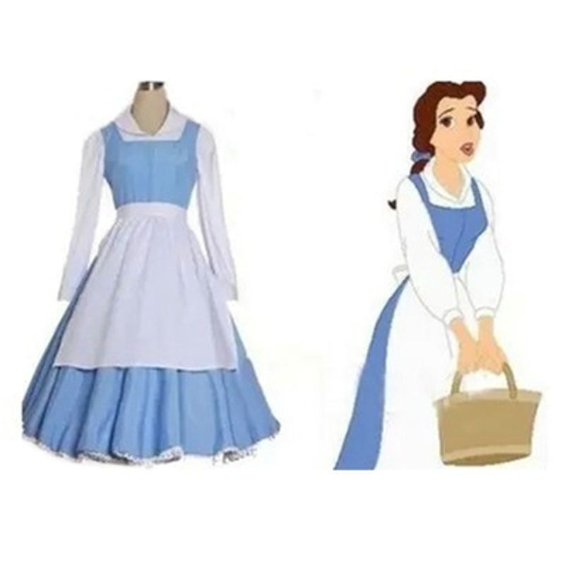 Adult Beauty and the Beast Belle Blue Maid Dress Cosplay Costume Halloween party costume