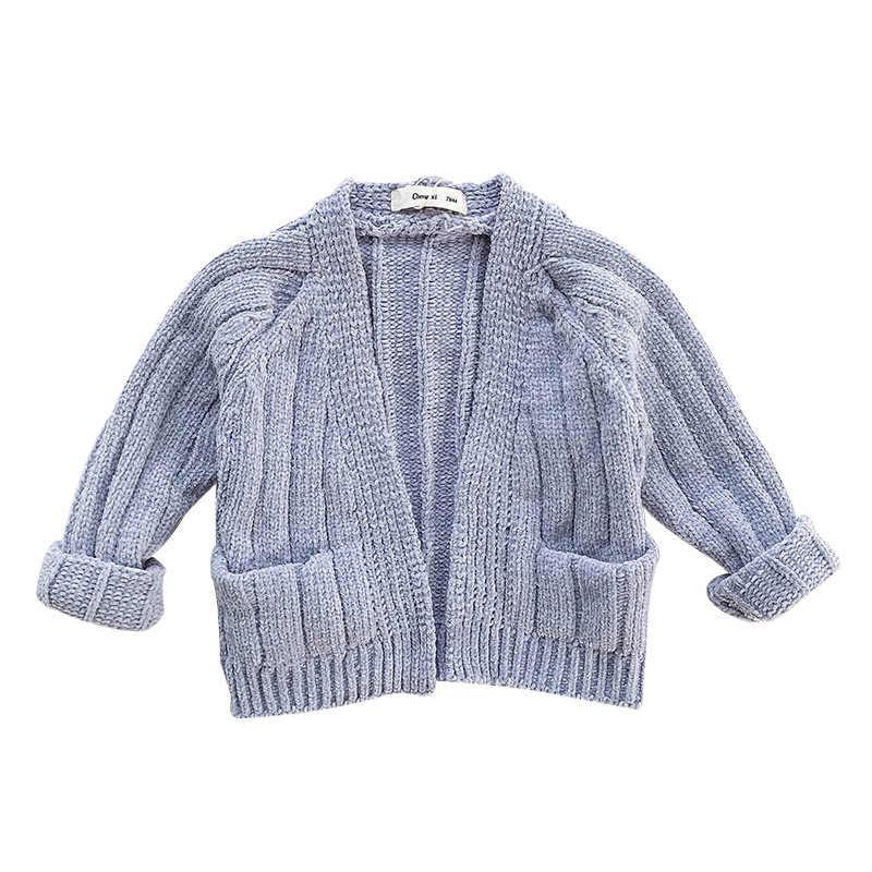 Вязаная для маленьких девочек, кардиган для детей 1, 2, 3, 4 лет, свитер для малышей, повседневный Свободный теплый кардиган, осенняя вязаная одежда для маленьких мальчиков и девочек