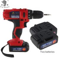 AC 100 240V Cordless 12V Electric Drill Screwdriver With 2 Lithium Batteries And Two Speed Adjustment