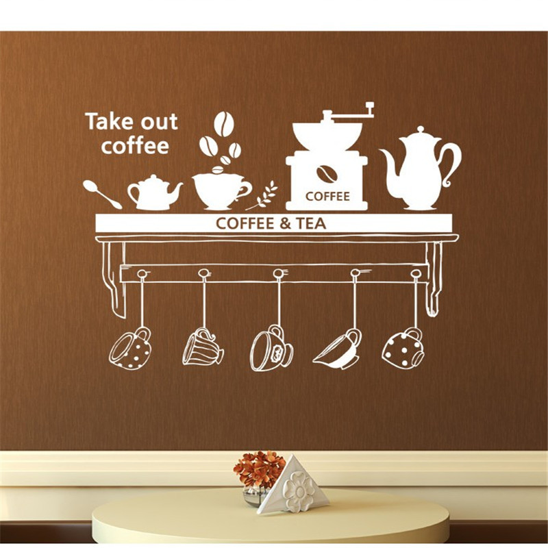 Coffee Tea Time Dining Room Parlour Wall Stickers Kitchen Sticker DIY Home Decor Mural Removable Home Decor Wall Sticker