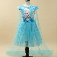 2016 Fashion New Girls Children Clothes Anna Elsa Dress Girl Baby Elsa Costume Kids Summer Princess