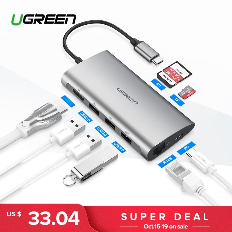 Ugreen Thunderbolt 3 док-адаптер USB C до 3,0 концентратор HDMI RJ45 Тип C конвертер для MacBook Pro huawei P20 /Коврики 10 USB-C адаптер