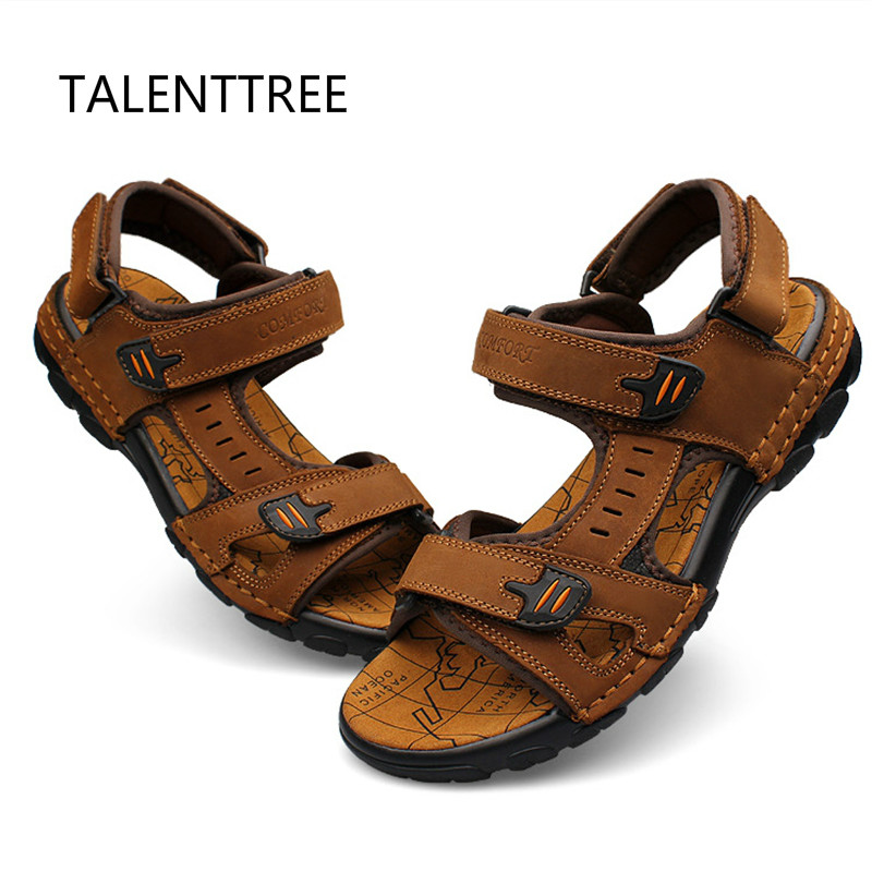 Big Size 37-46 Beach leather sandals Men Sandals New Summer Walking Sandals for Man Fashion Brand Outdoor Male Casual Shoes 45