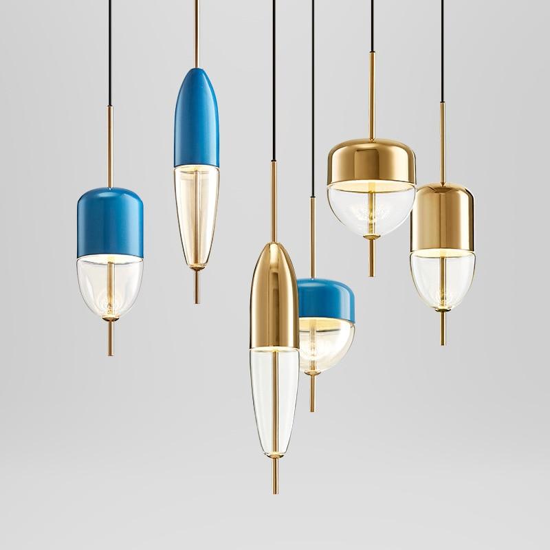 Post modern golden blue water drop glass pendant light restaurant bar desk designer single head droplight