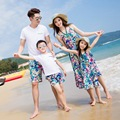Family Matching Outfit Bohemia Beach Parents Baby Kids Clothing Mother Mum Girl Daughter Dress Dad Boy Son Clothes Set S2905