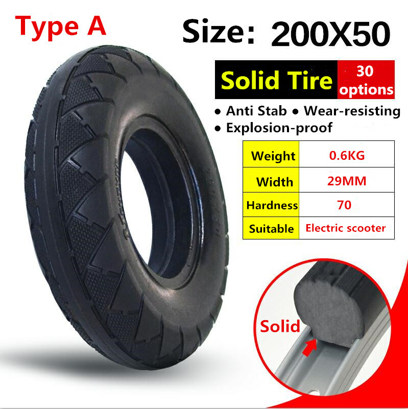 200*50 8 Inches Scooter Solid Tire for 8 200x50 Electric Scooter Skateboard