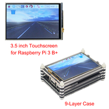 Newest Raspberry Pi 3 Model B+ 3.5 inch Touchscreen LCD Display + Black 9 layer Acrylic Case for Raspberry Pi 3 Model B Plus Kit