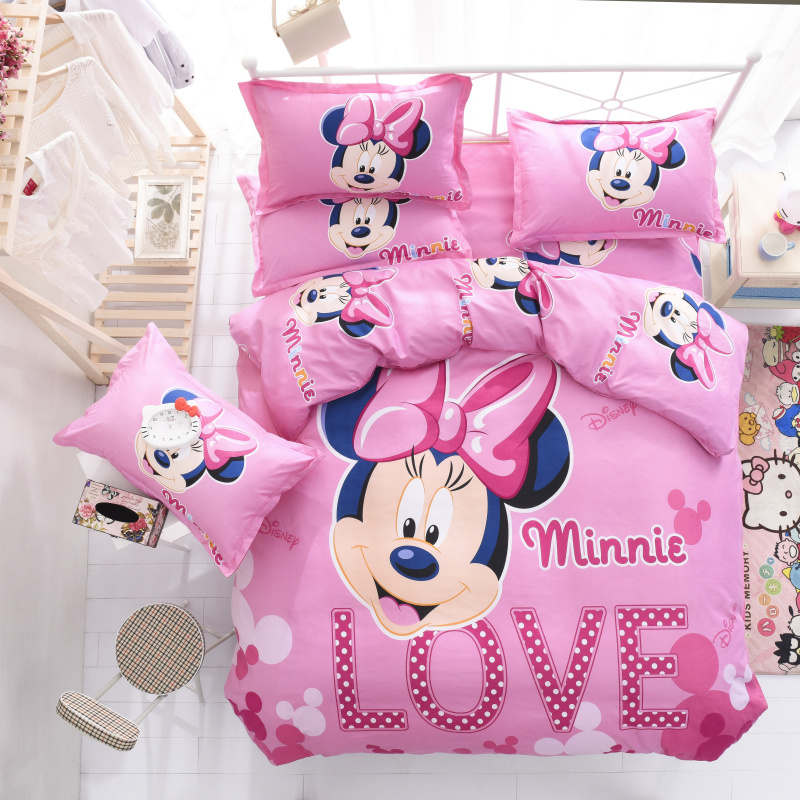 Minnie mouse print queen duvet cover set 3/4pcs disney cartoon pink bed sheet set single twin size kids childen home textile