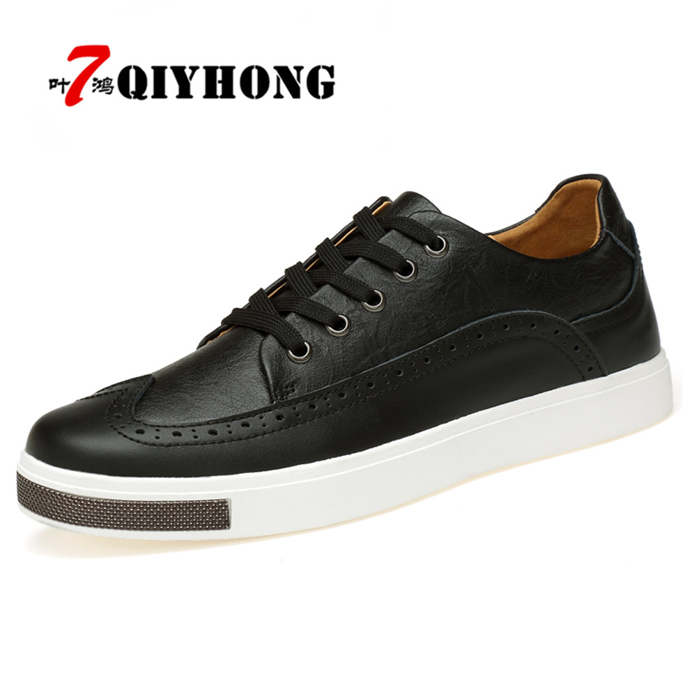 QIYHONG Hot Sale Men's Casual Shoes Genuine Leather  Design Breathable Shoes Spring Autumn Business Men Sapatos Masculinos стоимость
