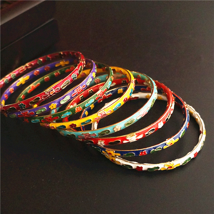 Very fine filigree Enamel Women Bangle Traditional Handicraft Polished Hard Bracelet Chinese Cloisonne Bangles Vintage Jewelry
