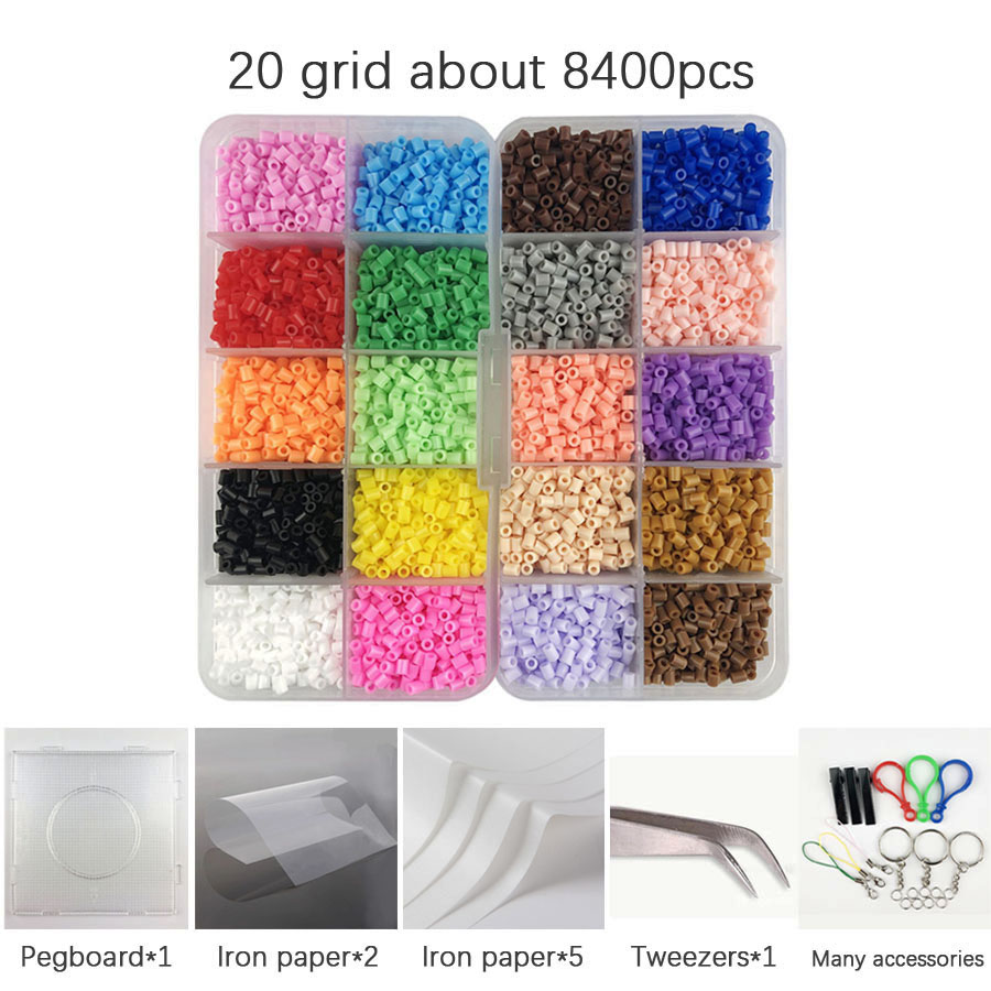 Mini 2.6mm Hama Beads About 8400pcs 1 Large Pegboards 20 Colors Perler Food Grade EVA Kids DIY Toys Active PUPUKOU Iron Beads