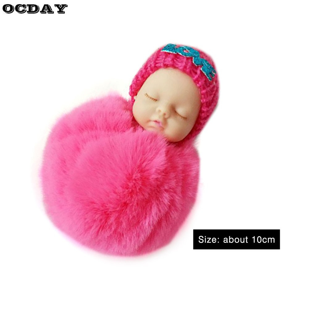 2018 Creative Cute Sleeping Baby Doll Plush Keychain Small Soft Fur Doll Pendant Car Bag Charm Fluffy Ball Keyring Toy for Kids