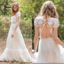 Country Style Boho Lace Wedding Dress 2019 Vestido De Novia Two Piece Short Sleeve Gowns Sheer Summer Bridal