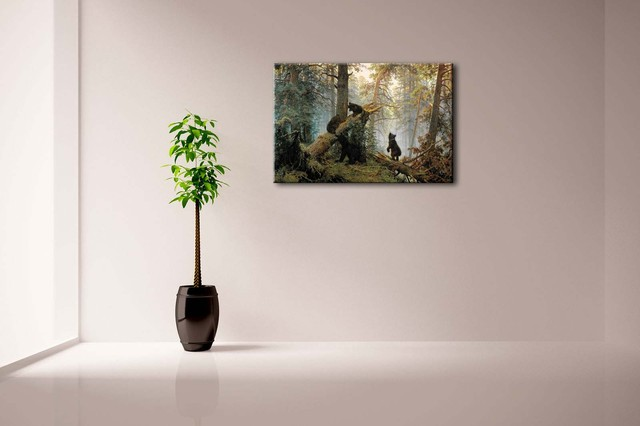 Bears In Forest Patterned Wall Canvas Print