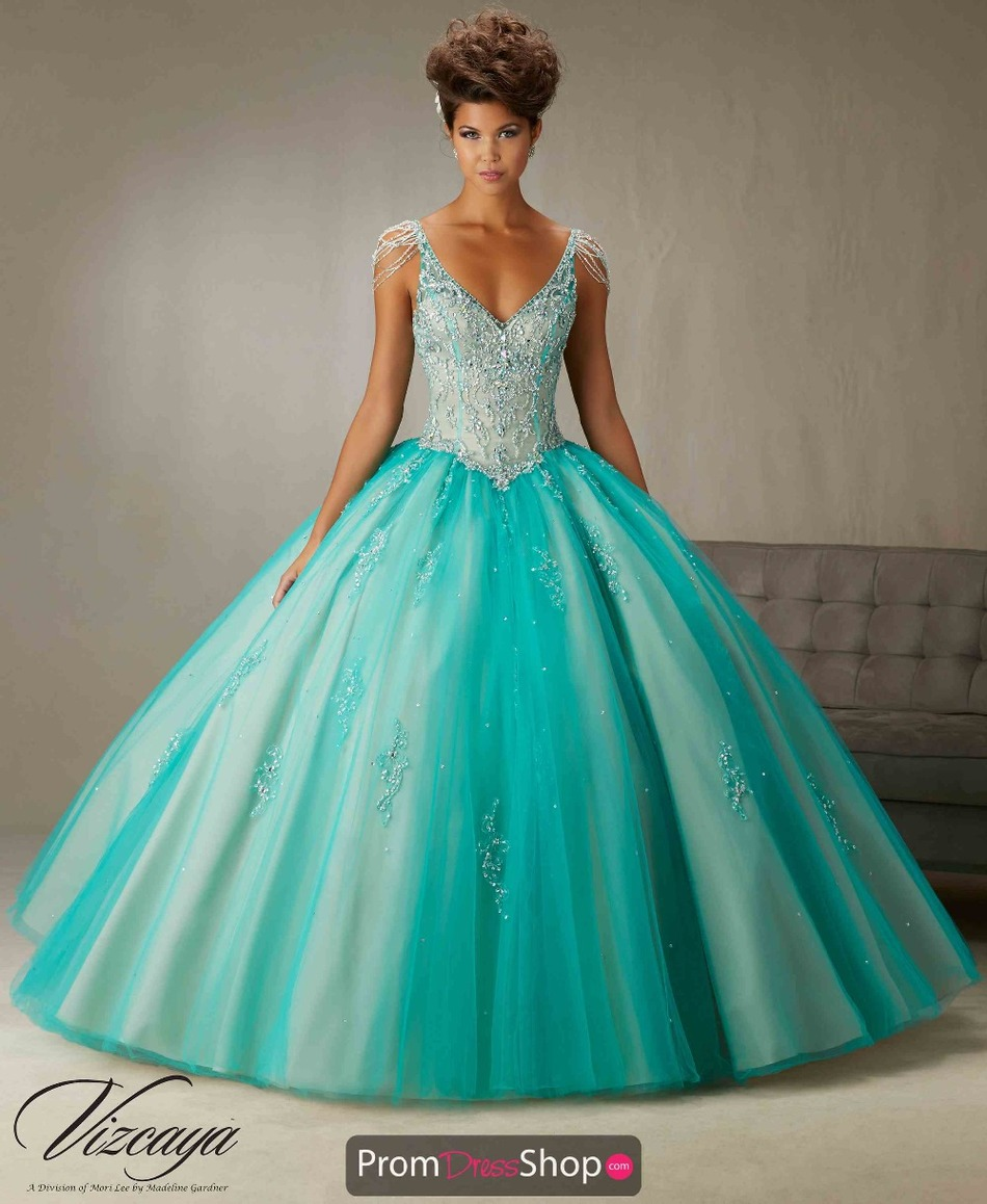 Vestidos De Quinceaneras Turquoise V Neck Quinceanera Dresses Sweet ...
