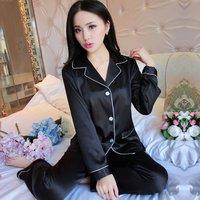 Women Men Long Sleeve Sleepwear Homewear Nightshirt Soft Faux Silk Satin Upscale Couples Pajamas Sets