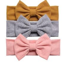 Фирменная Новинка ручной работы для маленьких девочек; повязка на голову с бантом для младенцев одноцветные, с узелком повязка на голову головка Обёрточная бумага аксессуары