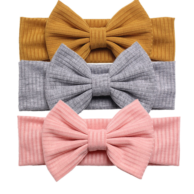 2019 Brand New Handmade Baby Girls Bow Headband Infant Toddler Solid Knot Hair Band Head Wrap Accessories