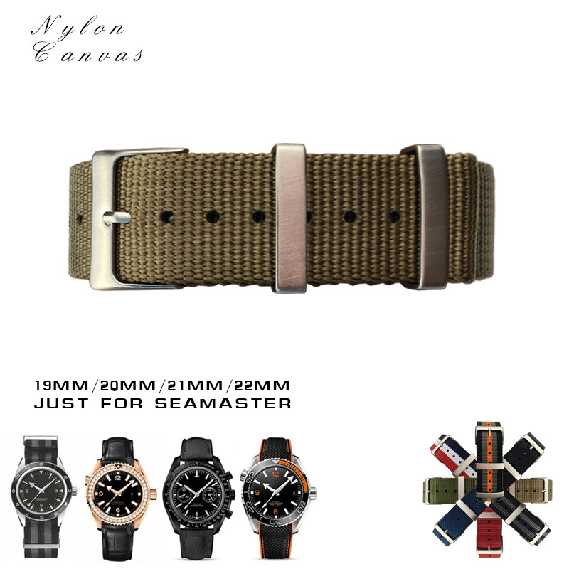 19/20/21/22mm High Quality Watchband Canvas Nylon Sport Strap for Omega  Seamaster Rolex Submariner Universal Watch Accessories