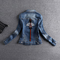 Mujeres bordado abeja abrigos 2017 vintage de manga larga chaqueta corta de mezclilla vaqueros delgados femeninos abrigo casual chicas outwear ae475