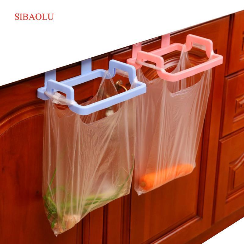 Kitchen Garbage Hanging Bag Plastic Cabinet Door Organizer Cupboard Towel Holders Trash Bag Hanger Storage Shelf Rack