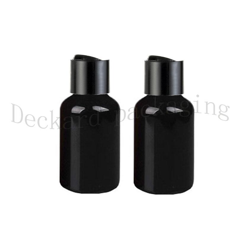 Free Shipping 100pcs lot DIY 50ML Round Black Pet Bottle With Disk Cap 50ML Black PET