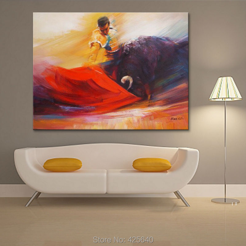 The Matador Hand-painted canvas painting pictures on the wall painting canvas sitting room wall art canvas the bulls wallpaper