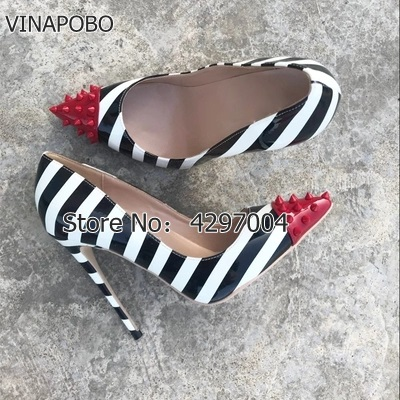 Vinapobo Sexy High heelShoes Fashion Zebra Stripes Women Shoes Rivet Studded Pumps Patchwork Pointed Toe Women