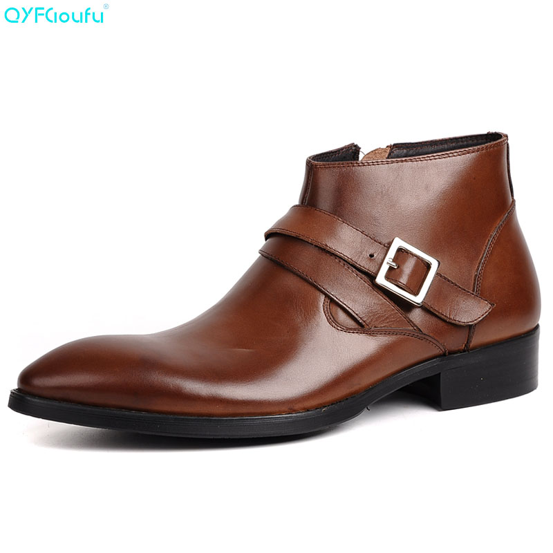 QYFCIOUFU Fashion Men Boots Genuine Leather High Quality Cow Leather Men Dress Boots Shoes Black, Brown Zipper Hasp Ankle BootsQYFCIOUFU Fashion Men Boots Genuine Leather High Quality Cow Leather Men Dress Boots Shoes Black, Brown Zipper Hasp Ankle Boots
