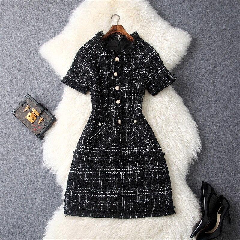 Haute qualité marque Designers automne robes pour femmes 2018 nouvelle mode hiver robe piste mode Plaid Tweed robe en laine