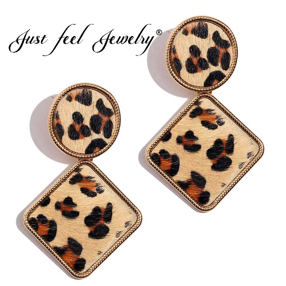 JUST FEEL Trend Women Brand Design za Leopard Geometric Square Metal Dangle Drop EarringsFashion Female Party Jewelry pendientes
