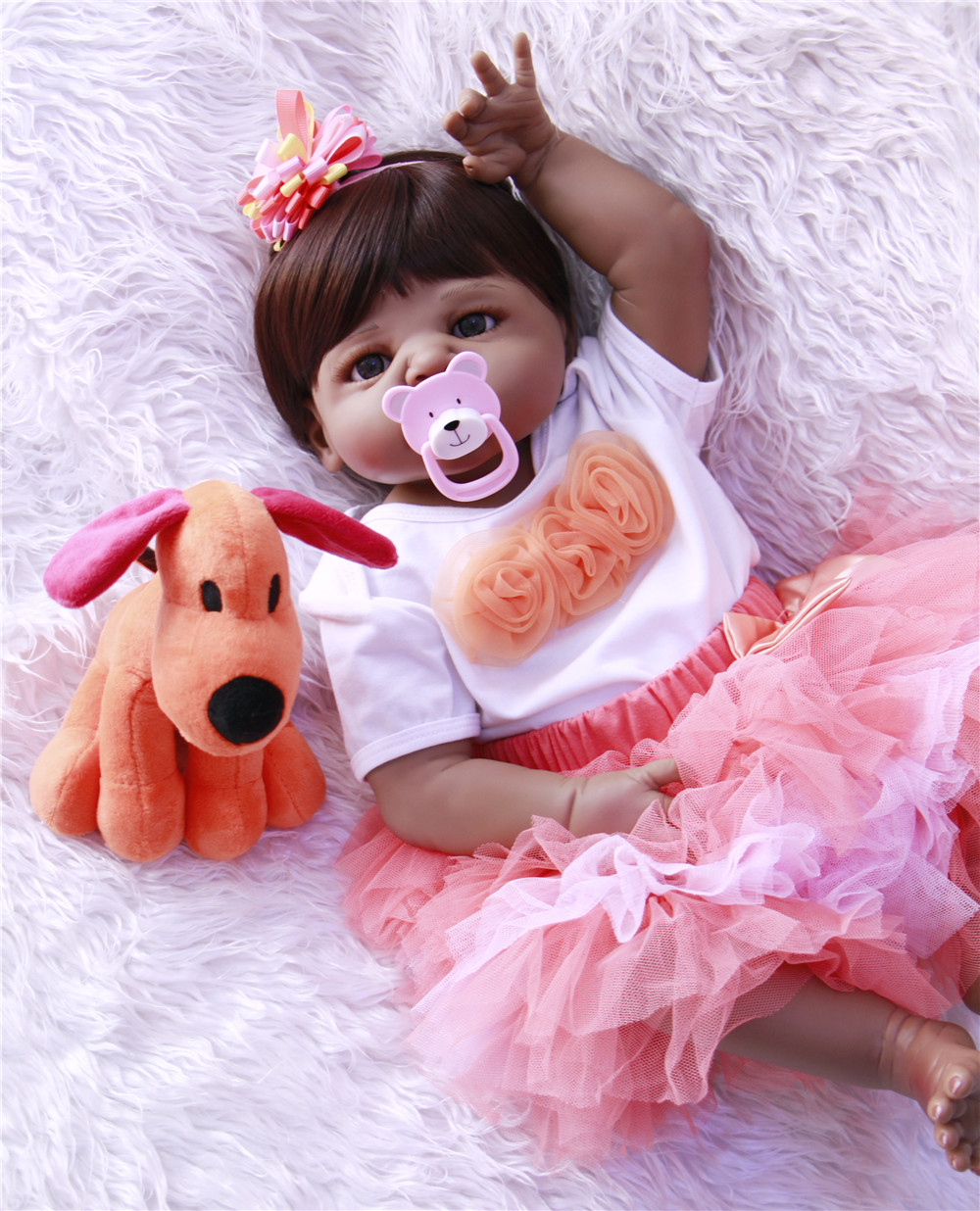 NPK 22 inch girl baby Reborn dolls for girls full body Silicone Toddler kids Newborn bebe Dolls cute Lifelike 55cm